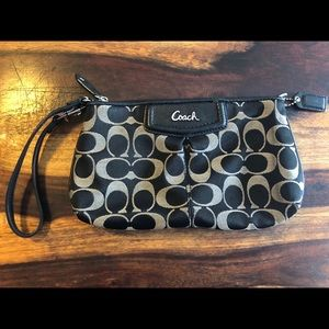 Coach Wristlet Black and Silver Signature